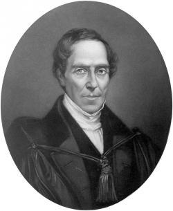 Gideon Algernon Mantell (1790 – 1852) na portrétu z pozdějších období jeho života. Dinosaura iguanodona oficiálně představil světu v únoru roku 1825, zkameněliny tohoto křídového ornitopoda ale znal již možná o celých osm let dříve. Převzato z Wikipedie.