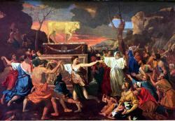 """Podle Bible Mojžíš po svém návratu z hory Sinaj splnil příkaz Hospodina. Shromáždil věrné a ti nevěrné, kteří se dopustili hříchu modlářství uctíváním telete, byli pobiti. Výzvu k masakru Mojžíš ospravedlnil slovy: """"Takto praví Hospodin, Bůh Izraele: Každý si připásejte k boku meč. Procházejte táborem od brány k bráně a každý pobíjejte i své bratry, přátele a příbuzné!"""" Leviho synové se zachovali podle Mojžíšova slova, a toho dne padlo z lidu na tři tisíce mužů. Obrázek slavnosti uctívání skotu, respektive zlatého telete představujícího syrsko-palestinského hlavního boha Baal-Hadada, se malíři francouzského baroka šestnáctého století Nicolasi Poussinovi už nejevilo jako něco zasluhujícího vraždit."""