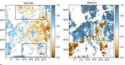 GRAF 6: Vposledních 30 letech vseverní Evropě srážek přibylo, vjižní Evropě ubylo. Koncem 19. Století byla většina Evropy sušší. [7]