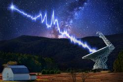 Green Bank loví rychlé rádiové záblesky. Kredit: SETI / Danielle Futselaar.