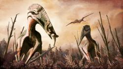 Moderní představa obřího azdarchidního pterosaura druhu Hatzegopteryx thambema coby dominantního terestrického predátora, schopného ulovit a pozřít i zvířata střední velikosti. Zde jedinec v popředí svým mohutným zobákem uchvátil subadultního jedince ornitopodního dinosaura rodu Zalmoxes (celková délka dinosaura činí asi dva metry). Tato ekologická scéna je pouze hypotetická, rozhodně ale nemusí být vzdálená 66 milionů let staré skutečnosti… Kredit: Mark Witton, studie v periodiku PeerJ, Wikipedie (CC BY-SA 4.0)