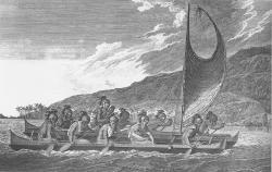 Havajštínámořníci se plaví na dvoutrupékánoi, asi 1781.  Autor: John Webber, člen posádky Cookovy lodi. Wikipedia. Volné dílo.