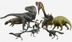 Tyranosauři nebyli zdaleka jedinými dinosauřími obyvateli pozdně křídových severoamerických ekosystémů. Jak se ale ukazuje, paleontologové první poloviny minulého století se velmi mýlili, když druhT. rexpovažovali za vzácný a řídce se vyskytující. Tyranosauři byli na poměry své velikosti naopakextrémně rozšířenými dominantními predátory. Není náhodou, že v pořadí druhým největším teropodním dravcem ve stejných ekosystémech byl nanejvýš asi třímetrákovýDakotaraptor. Na této ilustraci jsou spolu s tyranosaurem někteří další dinosauři a obří azdarchidní ptakoještěr, zastupující tzv. Lancijskou faunu v souvrství Hell Creek.Kredit:Durbed; Wikipedia (CC BY-SA 3.0)