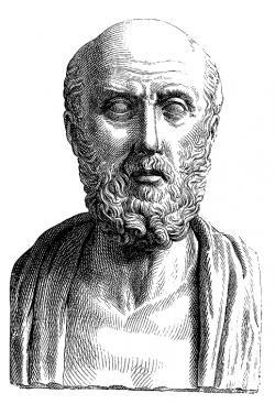 Jako první popsal náhlou paralýzu, stav spojovaný dnes s mozkovou příhodou (mrtvicí), Hippokrates. Neznámý rytec (1881). Volné dílo.