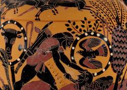 Archaická ilustrace k Iliadě: Odysseus zabíjí thráckého bojovníka, spojence Trójanů. Chalkidská černofigurová amfora, 540 před n. l. Getty Villa, Malibu (Los Angeles), 96.AE.1. Kredit: The J. Paul Getty Museum, Wikimedia Commons. Licence CC 1.0.