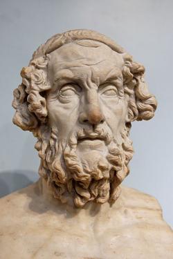 Busta Homéra, nejrozšířenějšího typu. Římská kopie helenistického originálu. Britské muzeum, GR 1805.7-3.85 (Sculpture 1825). Kredit: Marie-Lan Nguyen alias Jastrow, Wikimedia Commons. Licence CC 4.0.