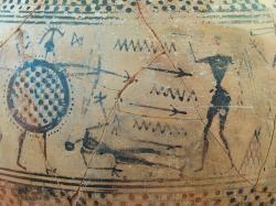 Takhle vypadá výtvarný styl doby vzniku homérských eposů. Válečná scéna malovaná v geometrickém stylu na amfoře z Paru (Parosu), 8. století před n. l. Archeologické muzeum na Paru, 3524. Kredit: Zde, Wikimedia Commons. Licence CC 4.0.