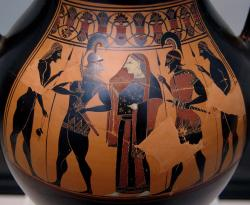 Meneláos znovu získává Helenu. Atická černofigurová amfora, 550 před n. l. Antická sbírka v Mnichově, inv. 1383 (= J 75). Kredit: Bibi Saint-Pol, Wikimedia Commons. Licence Public domain.