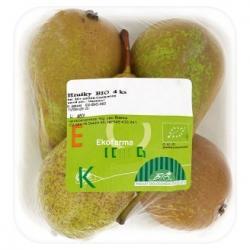 Hrušky Bio, 2. jakost, země původu: Nizozemsko, cena 74,90 Kč/kus. Balené po 4 ks na plastovém tácku.