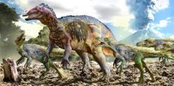 Mexický hadrosauroid Huehuecanauthlus tiquichensis odolává útoku teropodů v době před asi 84 miliony let. Jeho potomci budou hrát v ekosystémech pozdní křídy velmi významnou úlohu i díky svým zubním bateriím. Kredit: Luis V. Rey, převzato se svolením z jeho blogu.