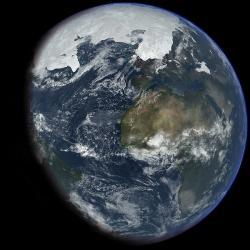 Země vdobě ledové. Kredit: Ittiz / Wikimedia Commons.