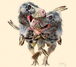 Tyranosauridi byli zřejmě silně teritoriální a vůči jiným zástupcům svého druhu agresivní a nesnášenliví. Projevovalo se to jejich častými souboji na život i na smrt, které můžeme doložit množstvím fosilií nesoucích známky těchto drsných zápasů. Tyranosauridům však zřejmě nebylo cizí ani pojídání mrtvých těl jiných zástupců vlastního druhu. Kredit: Luis V. Rey