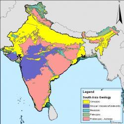 Geologická mapa Indie s vyznačením vulkanických sedimentů Dekkánských trapů (fialově). V současnosti mají rozlohu kolem půl milionu kilometrů čtverečních, původně ale byla jejich plocha asi trojnásobná. Kredit: CamArchGrad, Wikipedie (volné dílo)