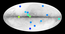 14 vytipovaných antihvězd vMléčné dráze. Kredit: IRAP, CNRS.