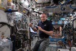 Astronaut David Saint-Jacques pri výskume polovodičových kryštálov. Kredit: NASA.