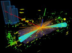 Jeden z případů vzniku a rozpadu Higgsova bosonu v detektoru ATLAS pozorovaný v roce 2012. Rozpad proběhl do dvou tauonů (světle modré kužely) a ty se pak rozpadly se vznikem elektronu (modrá čára) a mionu (červená čára).