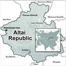 Altaj, v jeskyni Razboinichya byla před čtyřiceti lety nalezena lebka předka asijských psů.