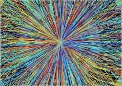 Uhrančivé srážky na částic na LHC. Kredit: CERN.