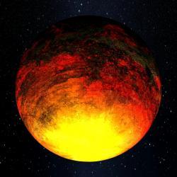 Pekelný svět Kepler-10b. Kredit: NASA.