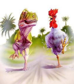 """Takto to Horner určitě nemyslel – dinokuře má mít velikost pouze skutečného poddruhu Gallus gallus domesticus. S dávkou osobitého humoru paleontolog dodává, že si přece """"nevytvoří nic, co by snědlo jeho samotného nebo přítomné domácí mazlíčky…"""" Kredit: Luis V. Rey, Wikipedie"""