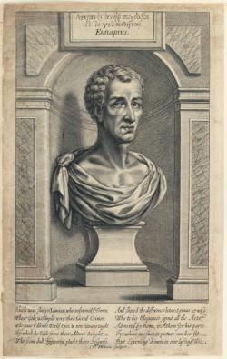 Lúkiános, rytina z 17. století, nehistorická podoba. Kredit: William Faithorne via The Library of Congress, Washington D.C., Wikimedia Commons.