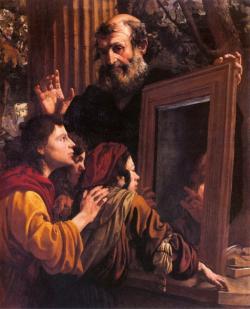 Sókratés nastavuje mladíkům zrcadlo. Kredit: Pier Francesco Mola via Museo Civico di Belle Arti, Lugano, Wikimedia Commons .