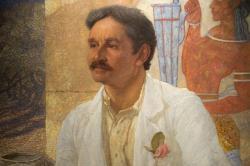 Portrét Arthura Evanse od sira Williama Richmonda, detail. Olej na plátně, 1907. Ashmolean Museum, Oxford, WA 1907.2. Kredit: Zde, Wikimedia Commons.