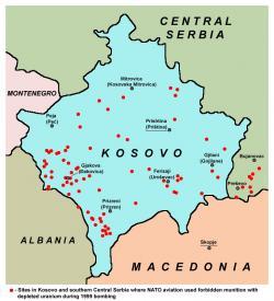 Kontaminovaná místa vKosovua na jihuSrbska,kde NATOpoužilo střely s ochuzeným uranem.