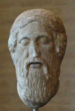 Nehistorická podoba Epimenida (nebo Homéra). Římská kopie řecké plastiky z 5. století před n. l. Glyptothek Munich (Mnichov). Kredit: Bibi Saint-Pol, Wikimedia Commons.