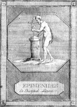 Nehistorická podoba Epimenida u květinového oltáře. Kredit: NNDB via Tomisti, Wikimedia Commons.