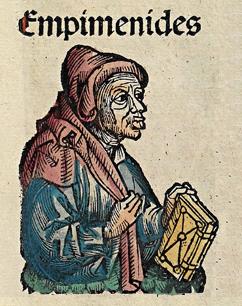 Nehistorická podoba Epimenida. Nuremberg Chronicle, 1492. Kredit: Michel Wolgemut et al., Wikimedia Commons.