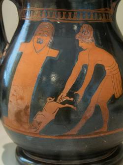 Oběť prasátka Hermovi na arkadském venkově, 470-460 před n. l. Altes Museum Berlin, Inv. 1962.62. Kredit: Zde, Wikimedia Commons