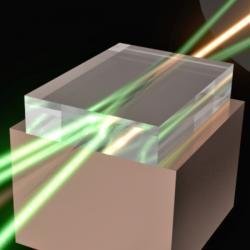 Skládání laserových paprsků vdiamantu. Kredit: Macquarie University.