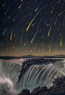 Zrnka, jako jsou Ken s Julií nám na obloze kouzlí podívané, jakým říkáme  meteorické bouře. Kresba Edmunda Weiße z roku 1833. Kredit Wikipedia