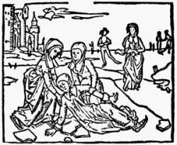 Nizozemskásvětice SvatáLidwina (1380–1433).  V patnácti letech při bruslení upadla a zlomila sižebro. Nikdy se už plně neuzdravila.  Její životopisci uvádějí, žepostupně ochrnulas výjimkou levé ruky. Fyzicky chátrala, přidávala se krvácivostz úst, uší a nosu. Popis příznaků je tak podrobný, že jí lékaři prohlásili za prvního známého pacienta sroztroušenou sklerózou. Její pád a následné postižení připisují alergologové na vrub roztroušené sklerózy. (Kredit: Wikipedie, volné dílo)