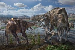 """Rekonstrukce přibližného vzezření """"severských"""" edmontosaurů, žijících v době před 69 miliony let na území současné Aljašky. Tito velcí stádní býložravci byli ve své době extrémně rozšířenými a ekologicky úspěšnými dinosaury. Jejich populace byly rozšířené na území západu Severní Ameriky v délce několika tisíc kilometrů. Kredit: Masato Hattori; Wikipedie (CC BY-SA 4.0)"""