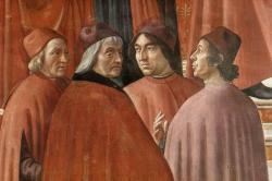 Domenico Ghirlandaio, Zachariáš vchrámu, 1486-1490. Marsilio Ficino je vlevo. Část fresky v Santa Maria Novella, Cappella Tornabuoni, Florencie. Kredit: Web Gallery of Art via Wikimedia Commons.Public domain.
