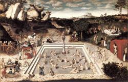 Lucas Cranach starší, Fontána mladosti, 1546. Starší ženy jsou jsou přiváděny ke studni, nad níž panujíVenušeaKupido. Z vody pak vystupují jako mladé a krásné a oddávají se zábavě při stolování, tanci a lásce. Muži mládnou kontaktem s mladými ženami. Gemäldegalerie, SMPK, Berlín, volné dílo.