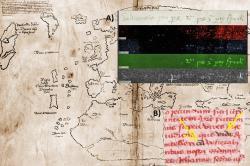 """A) Nápis na zadní straně """"mapy Vinland"""" byl přepsán ve zjevné snaze oklamat.Spodní obrázek ukazuje přítomnost titanu, zatímco předchozí tři obrázky jsou v souladu se středověkým inkoustem ze železa. Obrázek ve vysokém rozlišení ve zprávě YaleNews.  B) Infračervené světlo rovněž odhalilo pozměněný text v autentickém středověkém rukopisu s nímž byla mapa spojována.Také zde je změněný text psán moderním inkoustem. Obrázek ve vysokém rozlišení je dostupný ve zprávě YaleNews. Kredit: Yale University. http://www.bnl.gov/bnlweb/pubaf/pr/2002/bnlpr072902a.htm"""