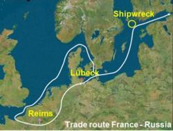 Na jedné z tehdejších obchodních tras do Ruska škuner ztroskotal (označeno kroužkem).  Kredit:. Philippe Jeandet et al PNAS , 10,1073 / pnas.1500783112