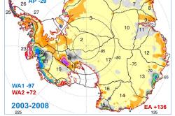 Celková mapa změn, jak ji dokumentuje ICESat 2003-2008. Ale žádnou katastrofu nesignalizuje, naopak. Podrobnosti zde.