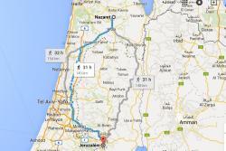 """""""Po současných silnicích je to podle Googlu z Jeruzaléma do Galileje 31 hodin chůze. (Autem by to učedníci při plynulém provozu stihli za necelé dvě hodiny)."""""""
