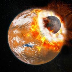Postihla gigantická srážka i mladý Mars? Kredit: Université Paris Diderot / Labex UnivEarthS.
