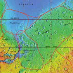 Chryse Planitia a Arabia Terra. Kredit: Jim Secosky / NASA.