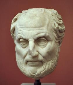 Thúkydidés, římská kopie helénistické práce. Archeologické muzeum na Korfu. Kredit: Zde, Wikimedia Commons.
