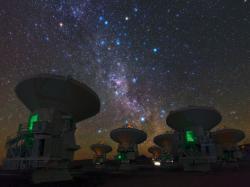 ALMA sMléčnou dráhou. Kredit: ESO/B. Tafreshi/TWAN.