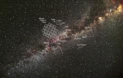 Zorné pole vesmírného teleskopu Kepler. Kredit: NASA.