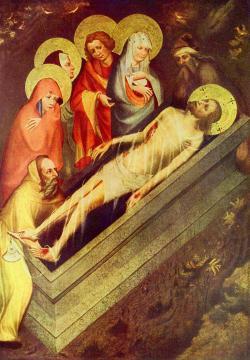 Kladení Krista do hrobu, Mistr třeboňského oltáře, okolo 1380. Národní galerie v Praze, volné dílo.