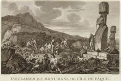 La Pérouse na Velikonočním ostrově v roce 1786. Volné dílo.