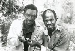 """Svým asistentům Stephenu Motsumi a Nkwane Molefe, Clark vděčí za svůj objev, byli to oni, kdo na dně jeskyně našli """"podezřelé""""  úlomky. Kredit: WU."""